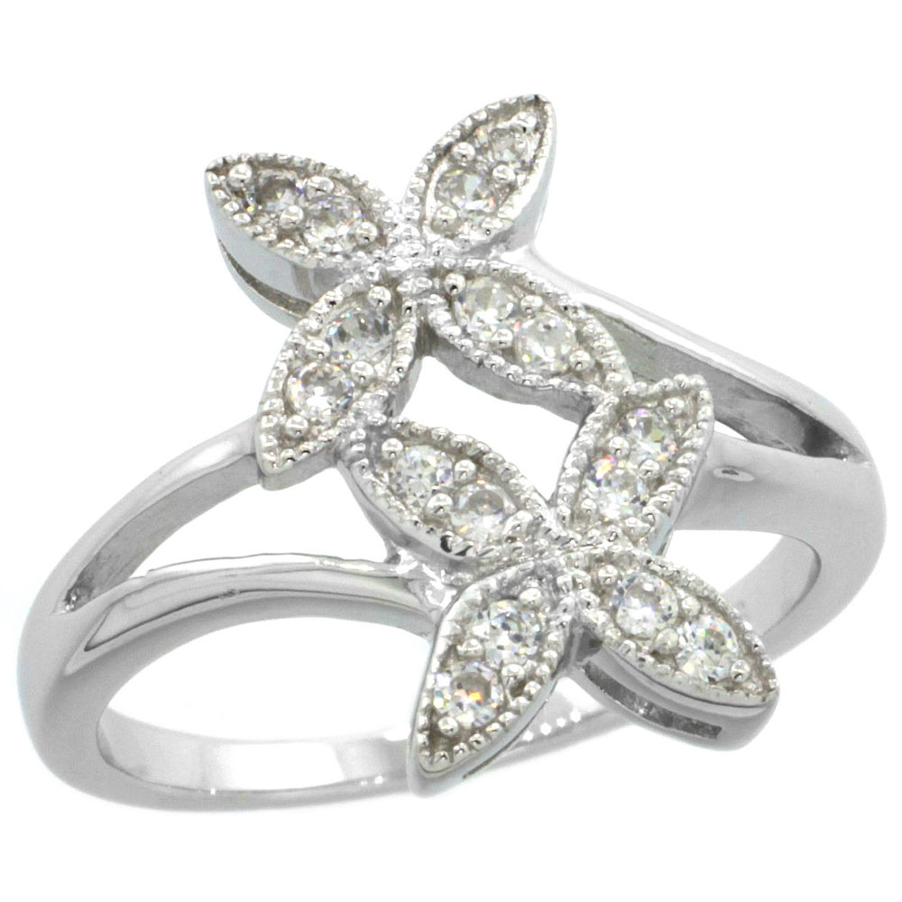 Sterling Silver Vintage Style Cubic Zirconia Double Flower Ring 5/8 inch wide, sizes 6-9