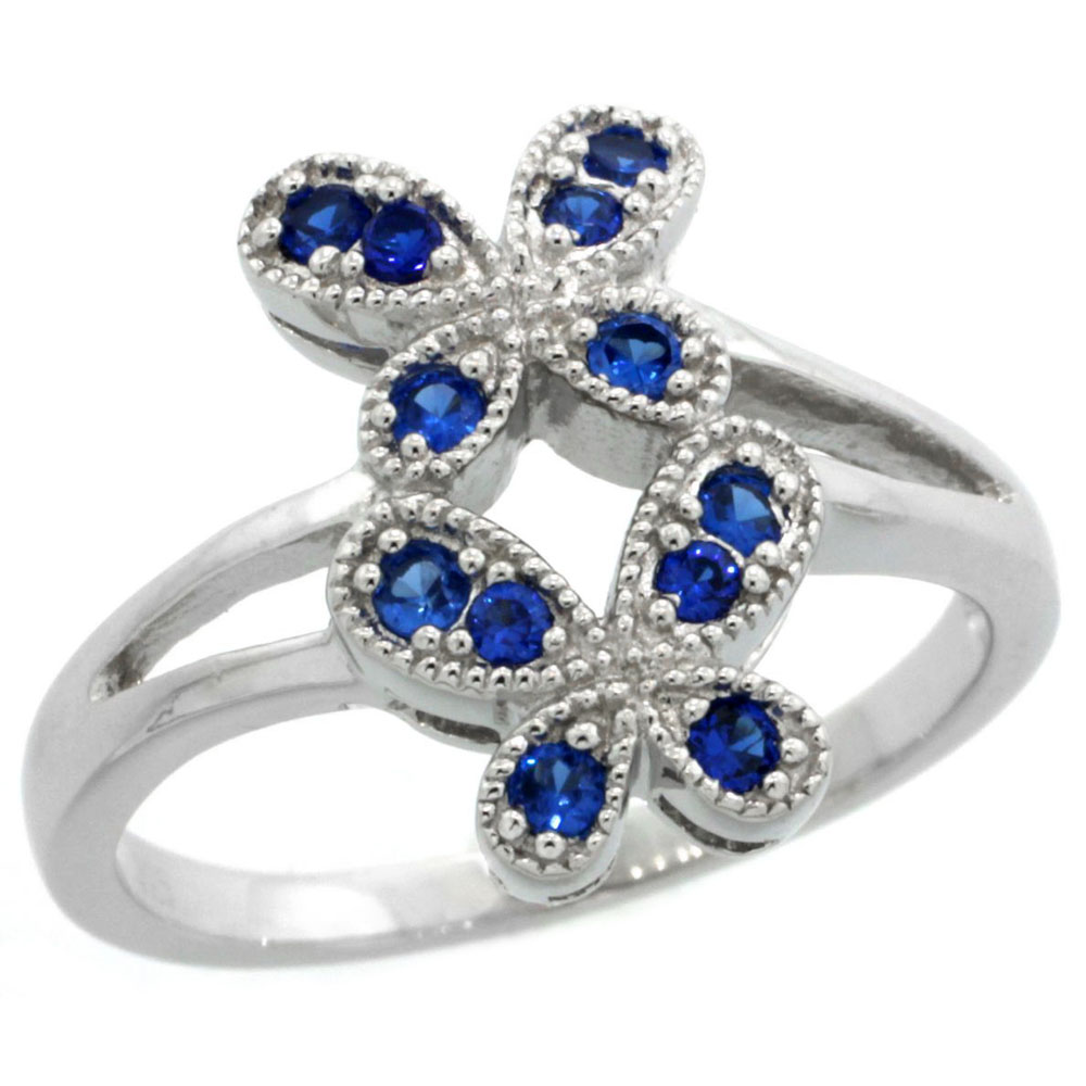 Sterling Silver Vintage Style Blue Sapphire Cubic Zirconia Double Butterfly Ring, sizes 6-9