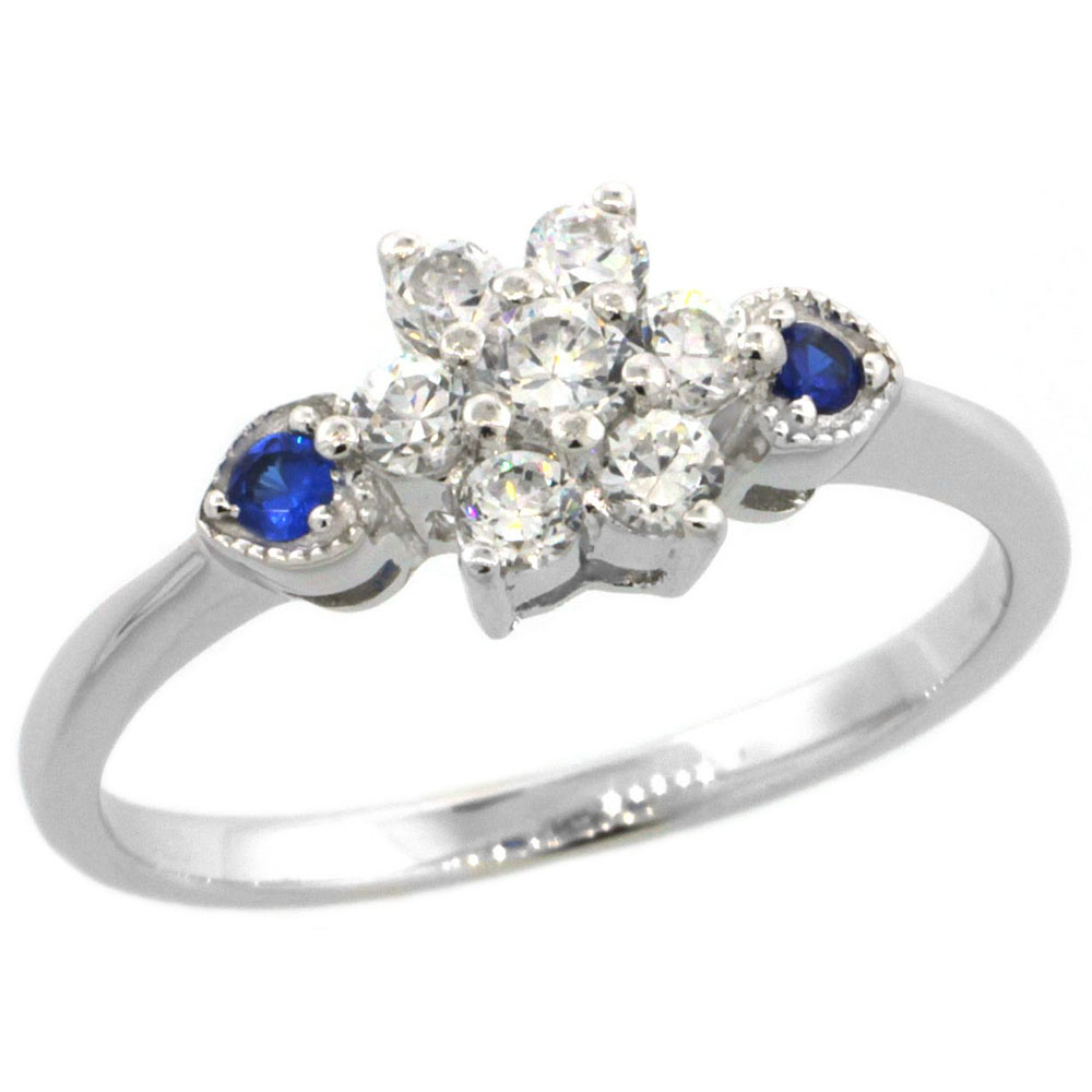 Sterling Silver Flower Cubic Zirconia Engagement Ring Blue Sapphire Color sides, sizes 6-9