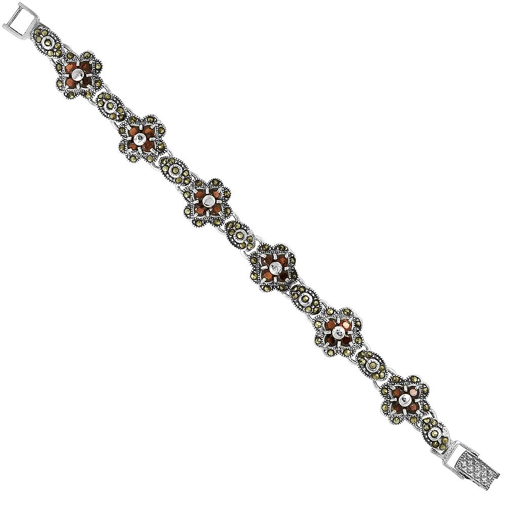 Sterling Silver Cubic Zirconia Garnet Flower Marcasite Bracelet 9/16 inch wide, 7 inch long