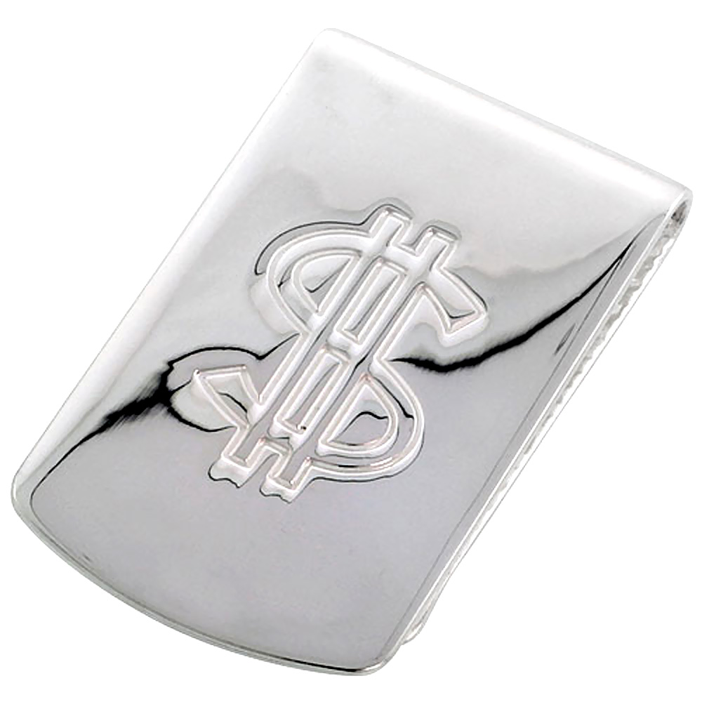 Sterling Silver Money Clip Dollar Sign Embossed Wide Italy, 1 X 1 3/4 inch