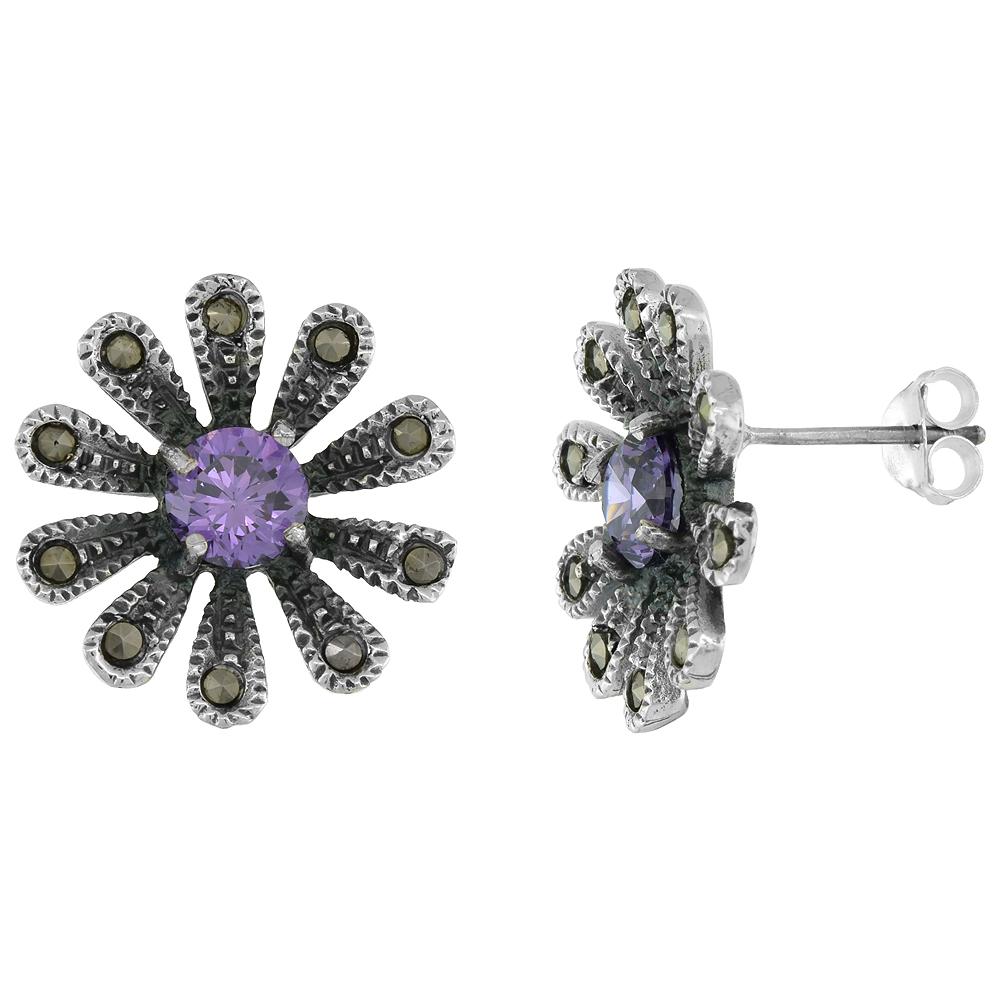 Sterling Silver Cubic Zirconia Amethyst Daisy Marcasite Stud Earrings, 3/4 inch wide