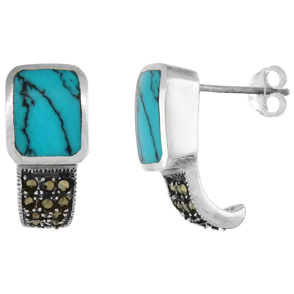 Sterling Silver Rectangular Turquoise Marcasite Earrings, 3/4 inch long