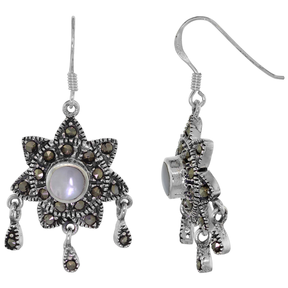 Sterling Silver Mother of Pearl Sun Marcasite Dangle Earrings, 1 1/2 inch long