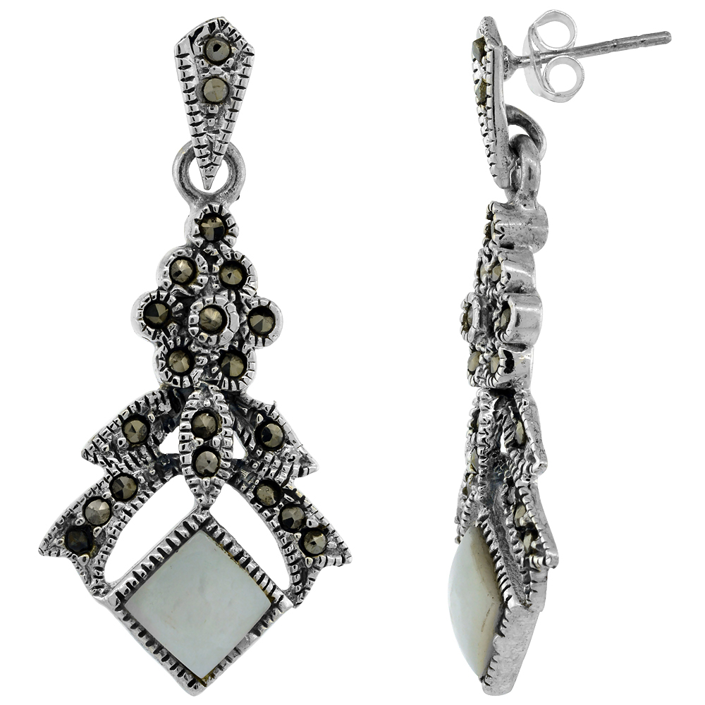 Sterling Silver Square Mother of Pearl Marcasite Dangle Earrings, 1 11/16 inch long