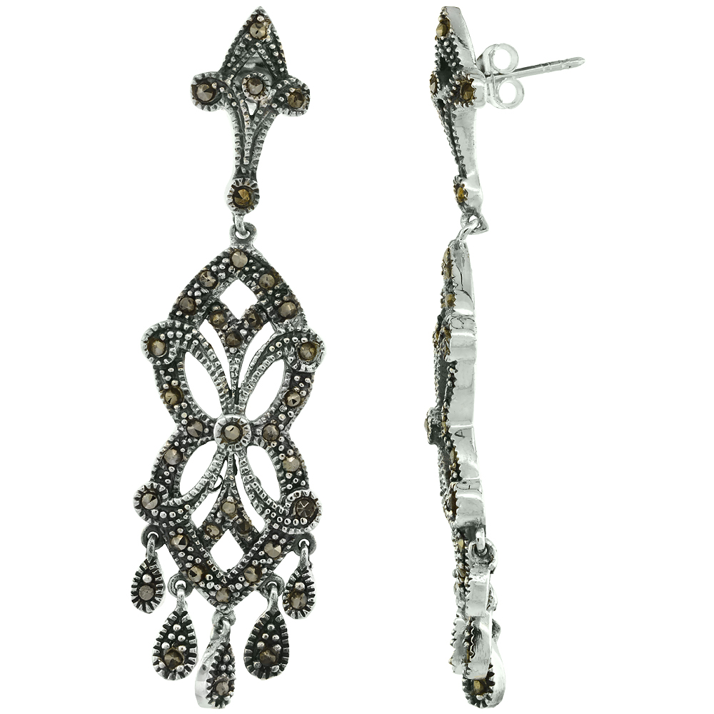 Sterling Silver Mother of Pearl Marcasite Dangle Earrings, 5/8 inch wide