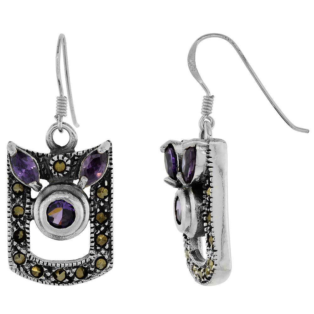 Sterling Silver Marcasite Dangle Earrings Cubic Zirconia Accents Purple, 19/32 inch wide