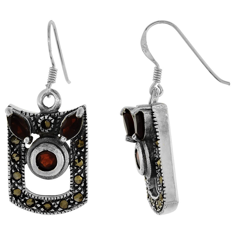 Sterling Silver Marcasite Dangle Earrings Cubic Zirconia Accents Red, 19/32 inch wide