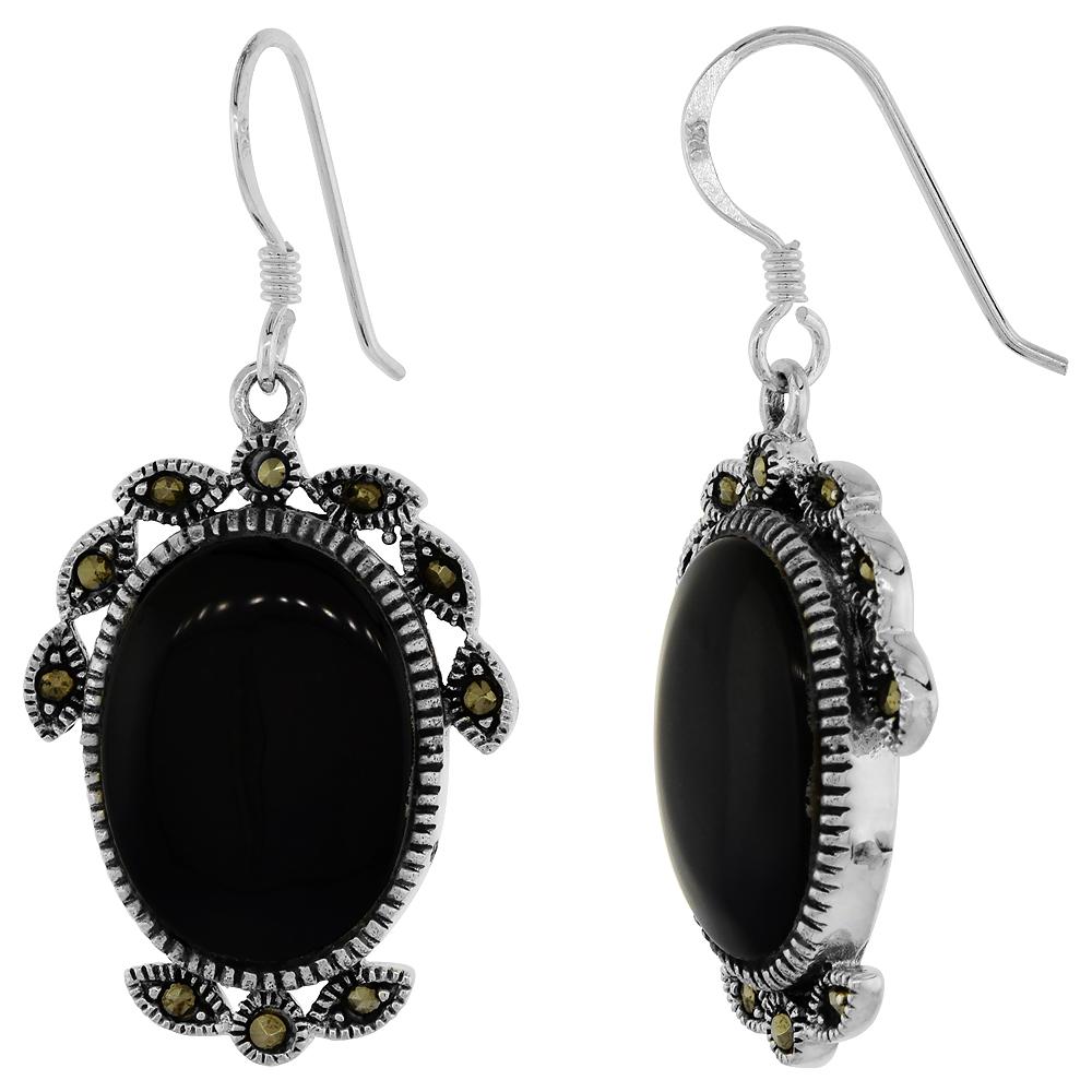 Sterling Silver Marcasite Dangle Earrings Oval Black Onyx, 3/4 inch wide