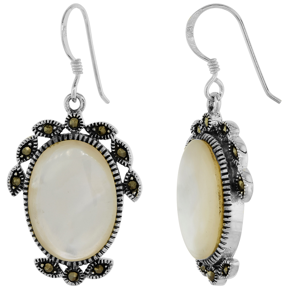 Sterling Silver Marcasite Dangle Earrings Oval Mother of Pearl, 3/4 inch wide
