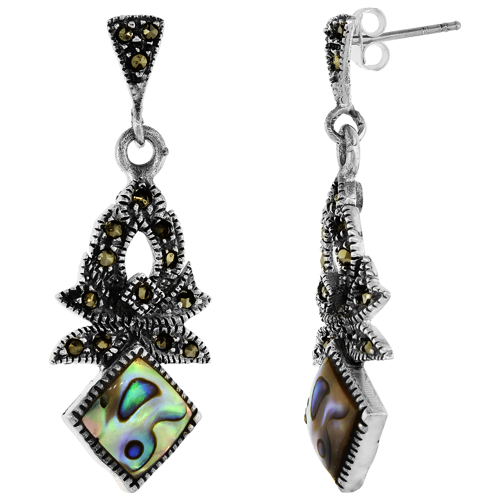 Sterling Silver Marcasite Dangle Earrings Square Abalone, 9/16 inch wide