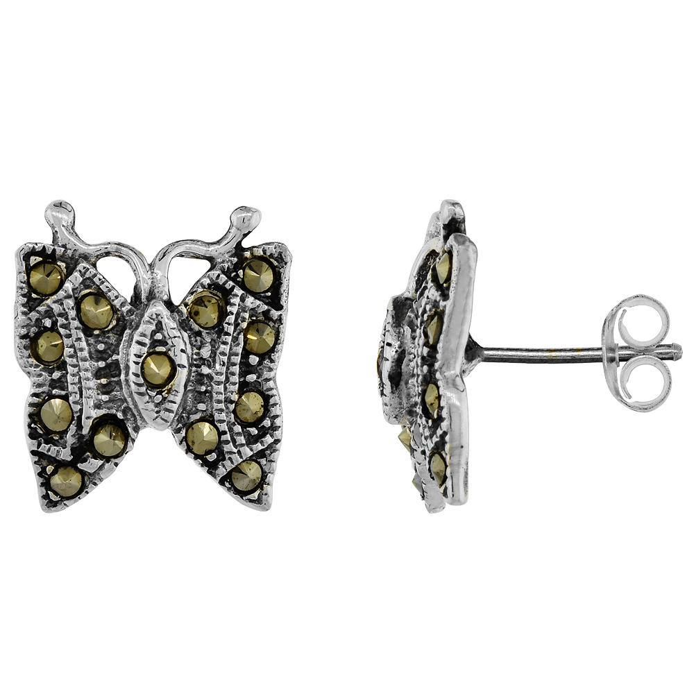 Sterling Silver Marcasite Butterfly Earrings, 1/2 inch wide