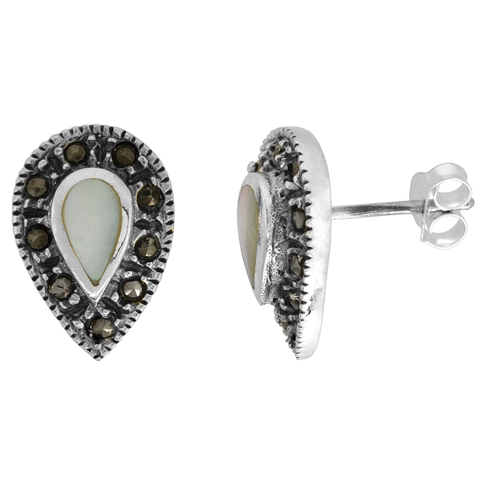 Sterling Silver White Mother of Pearl Marcasite Earrings Pear shape, 7/16 inch wide