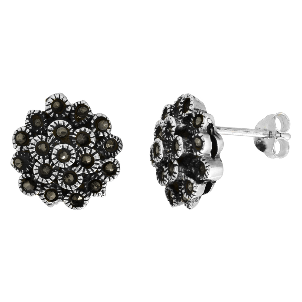Sterling Silver Flower Marcasite Stud Earrings, 9/16 inch wide