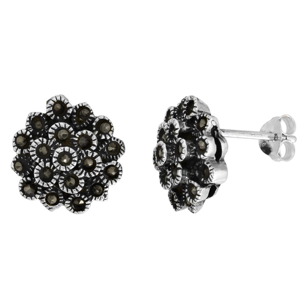 Sterling Silver Flower Marcasite Stud Earrings, 9/16 inch wide