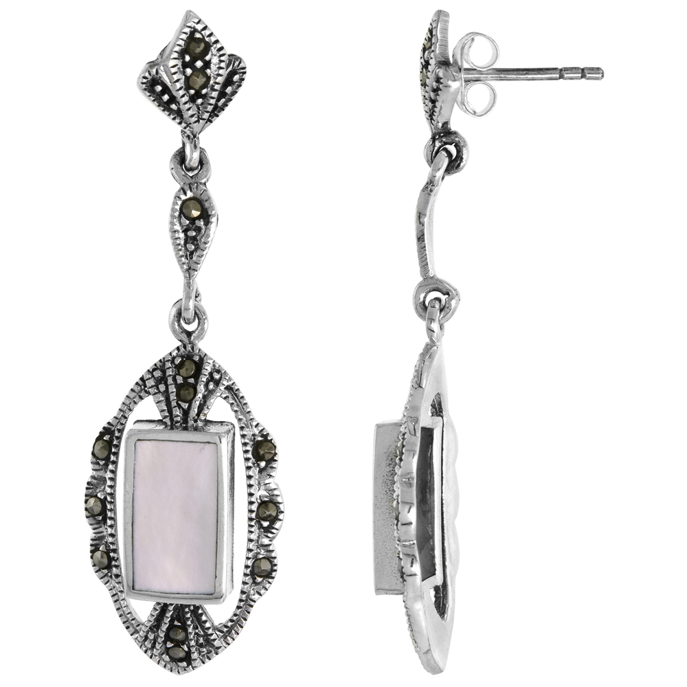 Sterling Silver Rectangular Mother of Pearl Marcasite Dangle Earrings, 9/16 inch wide