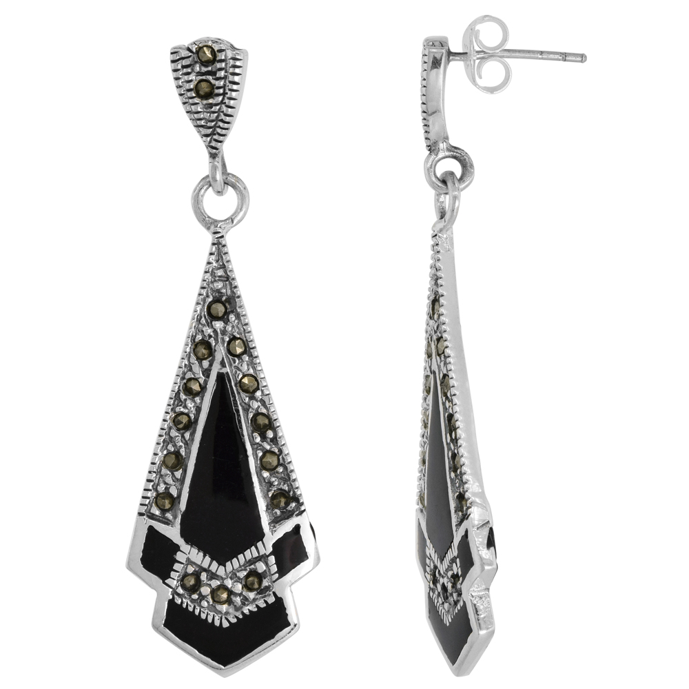 Sterling Silver Black Onyx Marcasite Dangle Earrings Triangular, 9/16 inch wide