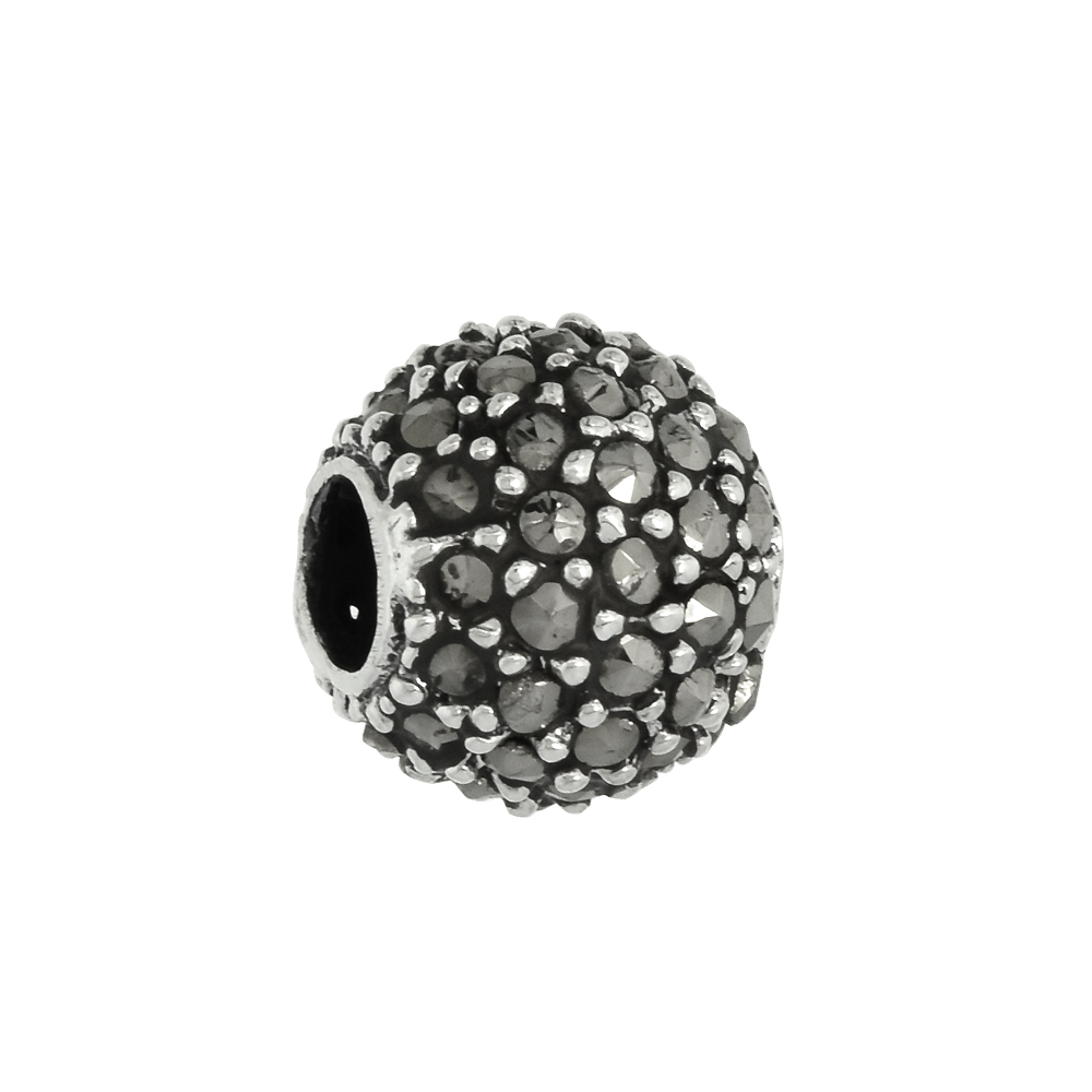 Sterling Silver 10mm Marcasite Bead Charm