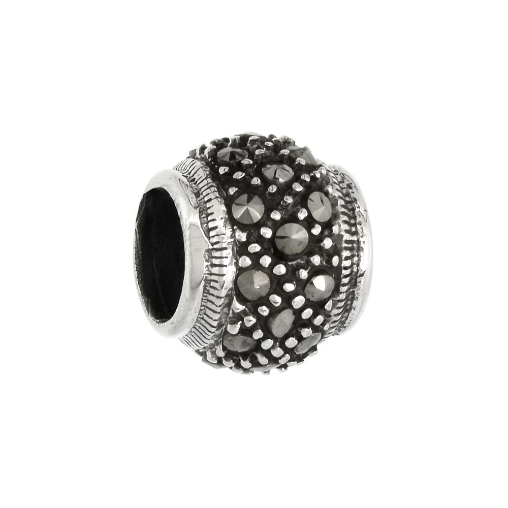 Sterling Silver 9mm Marcasite Bead Charm
