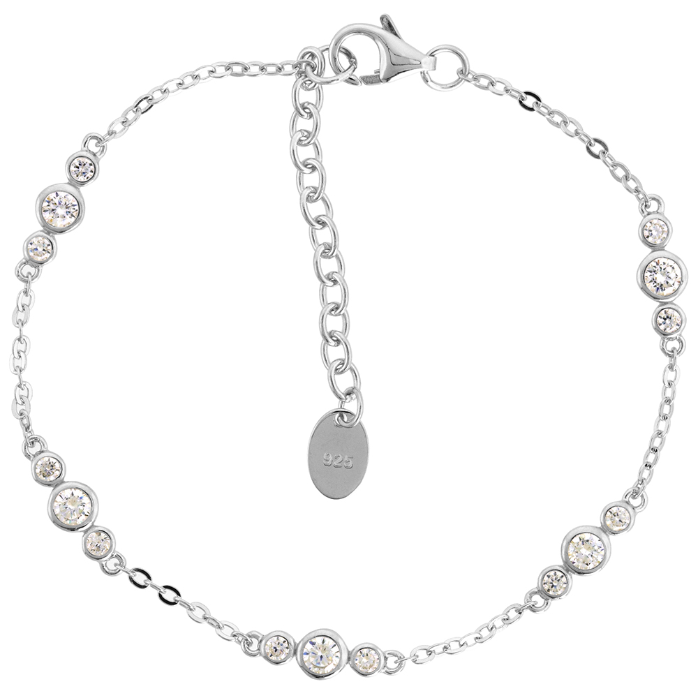 Dainty Sterling Silver CZ Station Bracelet for Women Bezel Set Rhodium Finish fits 6.5-7.5 inch