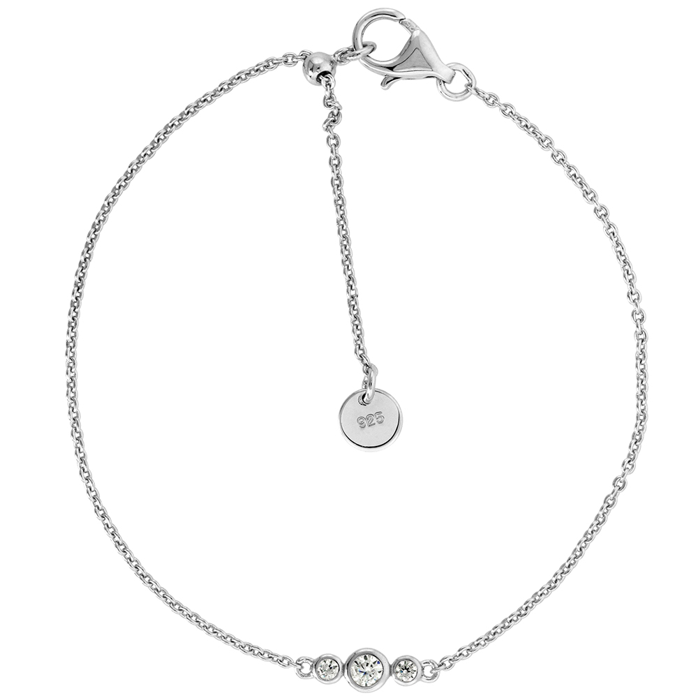 Cute Little Sterling Silver Adjustable CZ Bracelet 3 Stones Bezel Set Rhodium Sliding Bead Clasp, 7- 8 inch