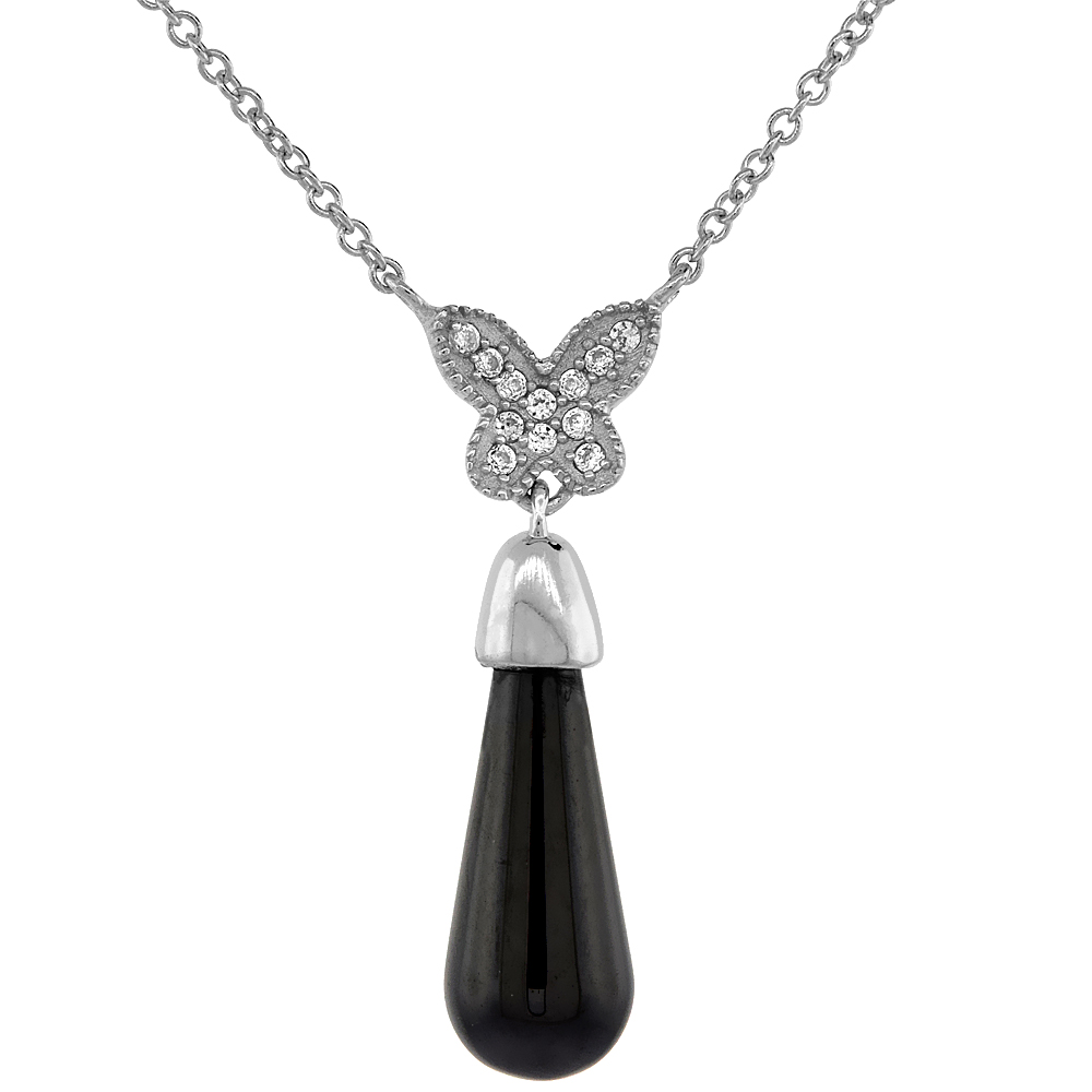 Sterling Silver Cable Butterfly Necklace Rhodium Finish & Black Ceramic