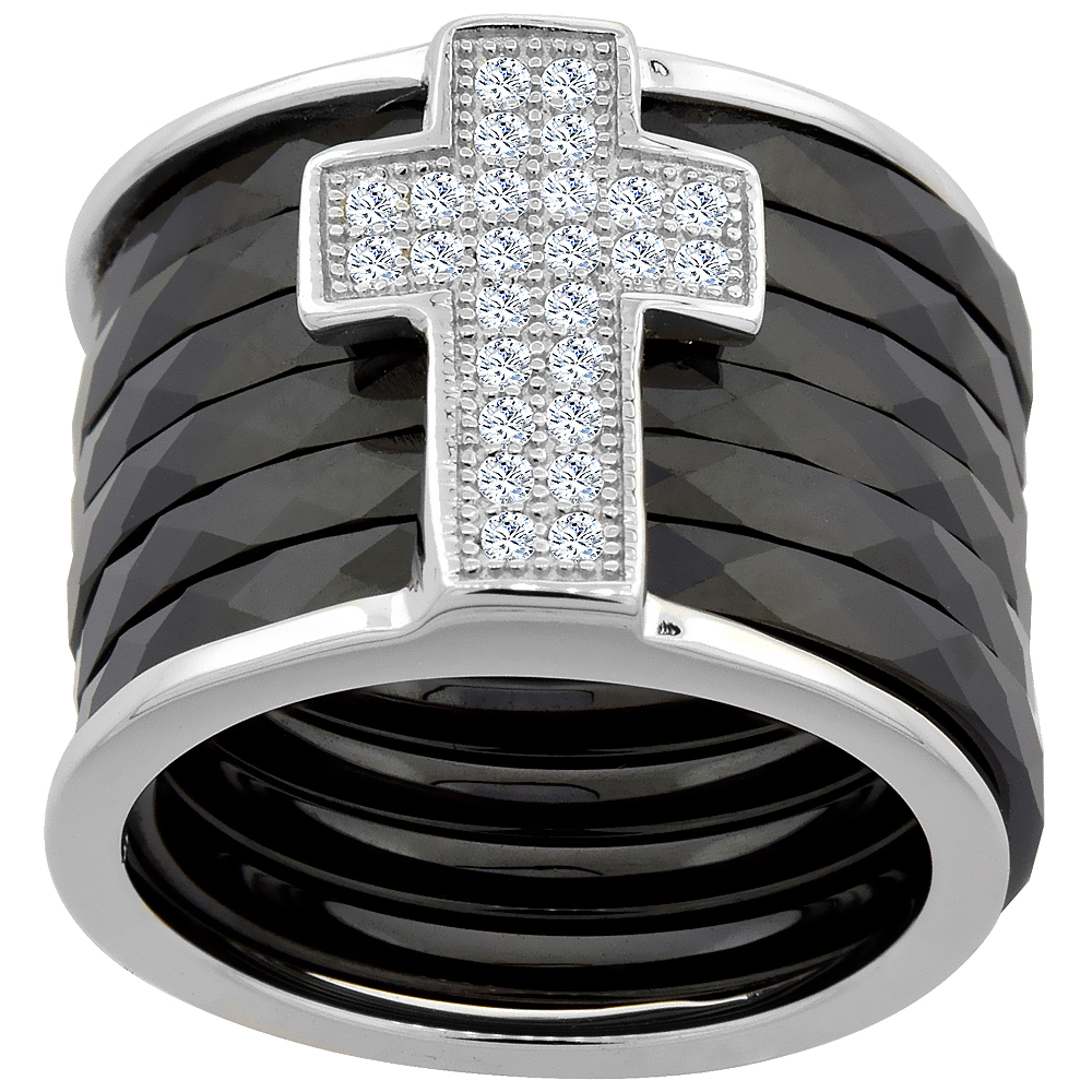 6pc Sterling Silver Cubic Zirconia Cross Ring & Faceted Black Ceramic, 9/16 inch wide, sizes 6 - 8
