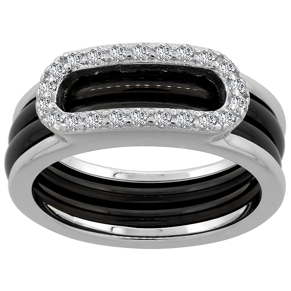 Sterling Silver Cubic Zirconia Oval Ring & Black Ceramic, 1/4 inch wide, sizes 6 - 8