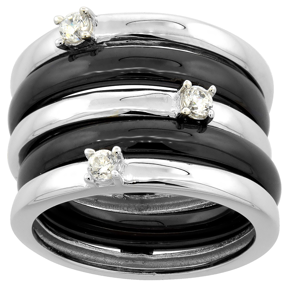 3pc Sterling Silver Cubic Zirconia Wide Ring & Black Ceramic, 9/16 inch wide, sizes 6 - 8.5