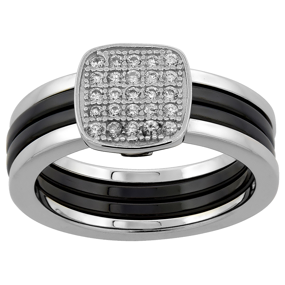 Sterling Silver Cubic Zirconia Sqaure Ring & Black Ceramic, 5/16 inch wide, sizes 6 - 8