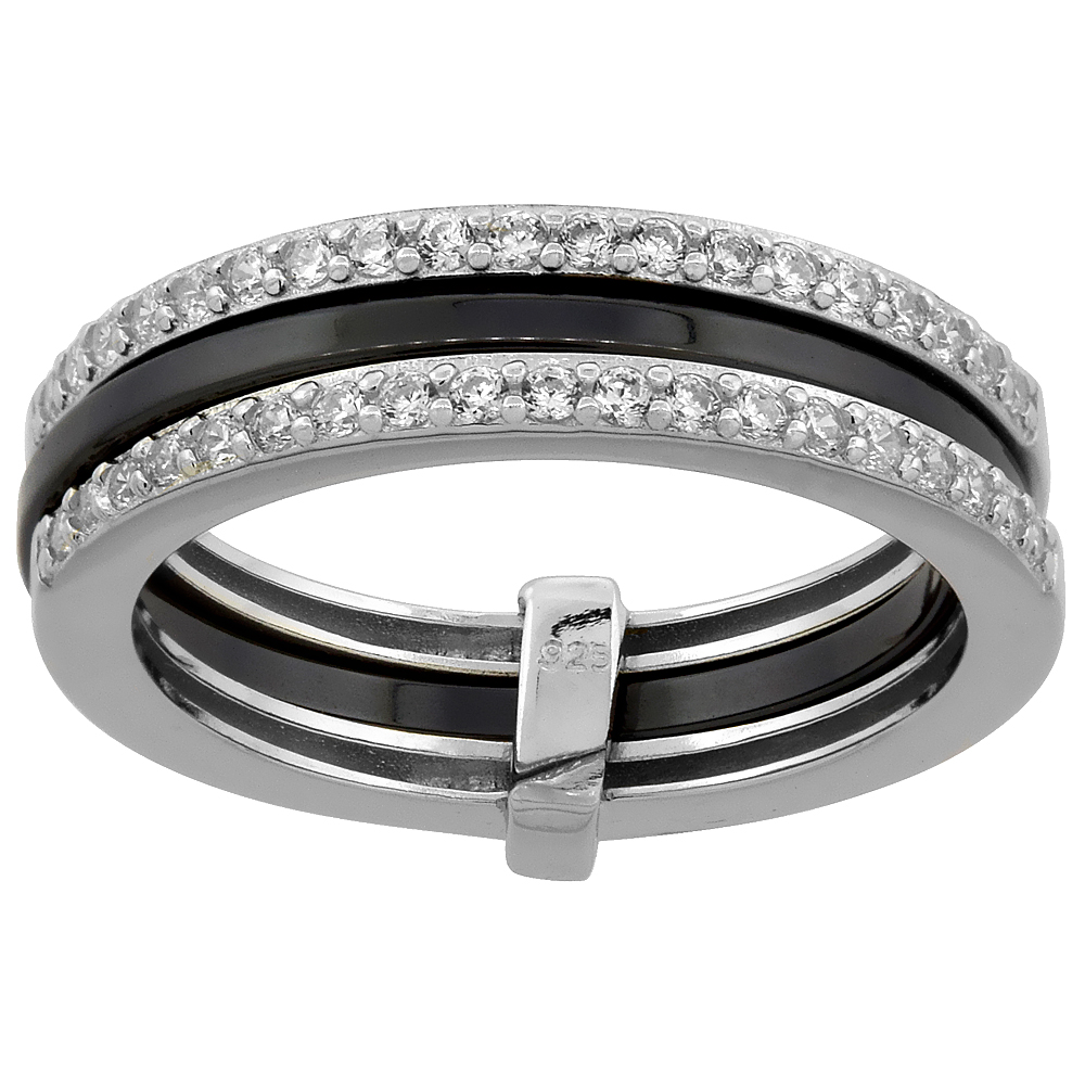 Sterling Silver Cubic Zirconia Half Eternity Black Ceramic 3-Row Ring, 3/16 inch wide, sizes 6 - 8