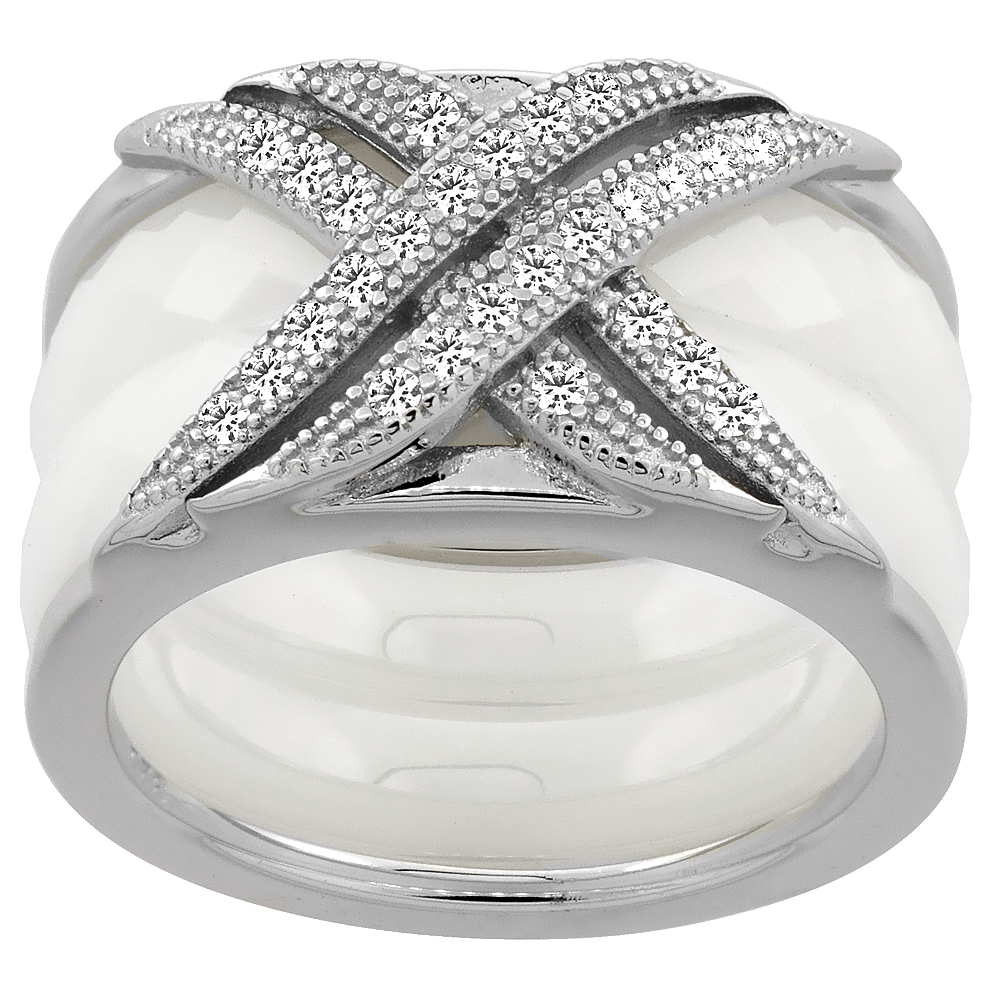 3pc Sterling Silver Cubic Zirconia CrissCross Ring & Faceted White Ceramic, 7/16 inch wide, sizes 6 - 8