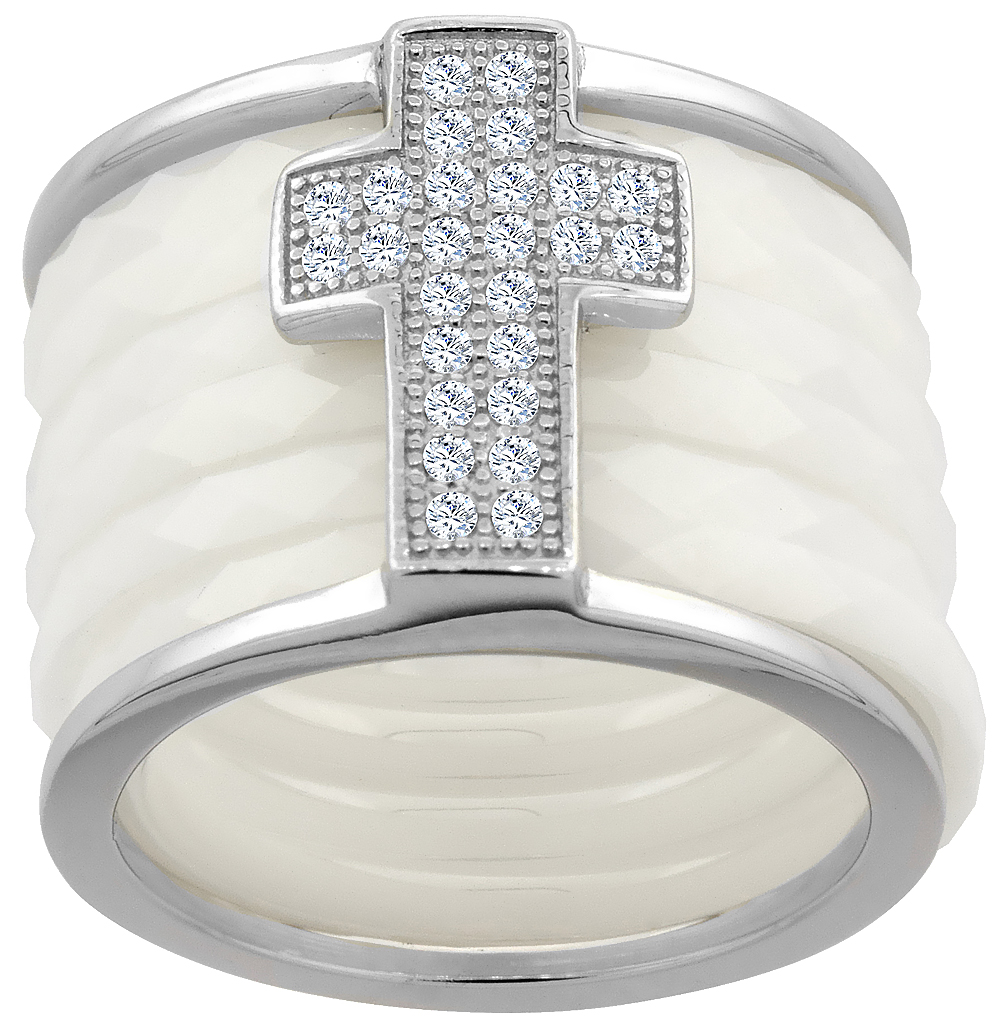 7pc Sterling Silver Cubic Zirconia Cross Ring & Faceted White Ceramic, 9/16 inch wide, sizes 6 - 8