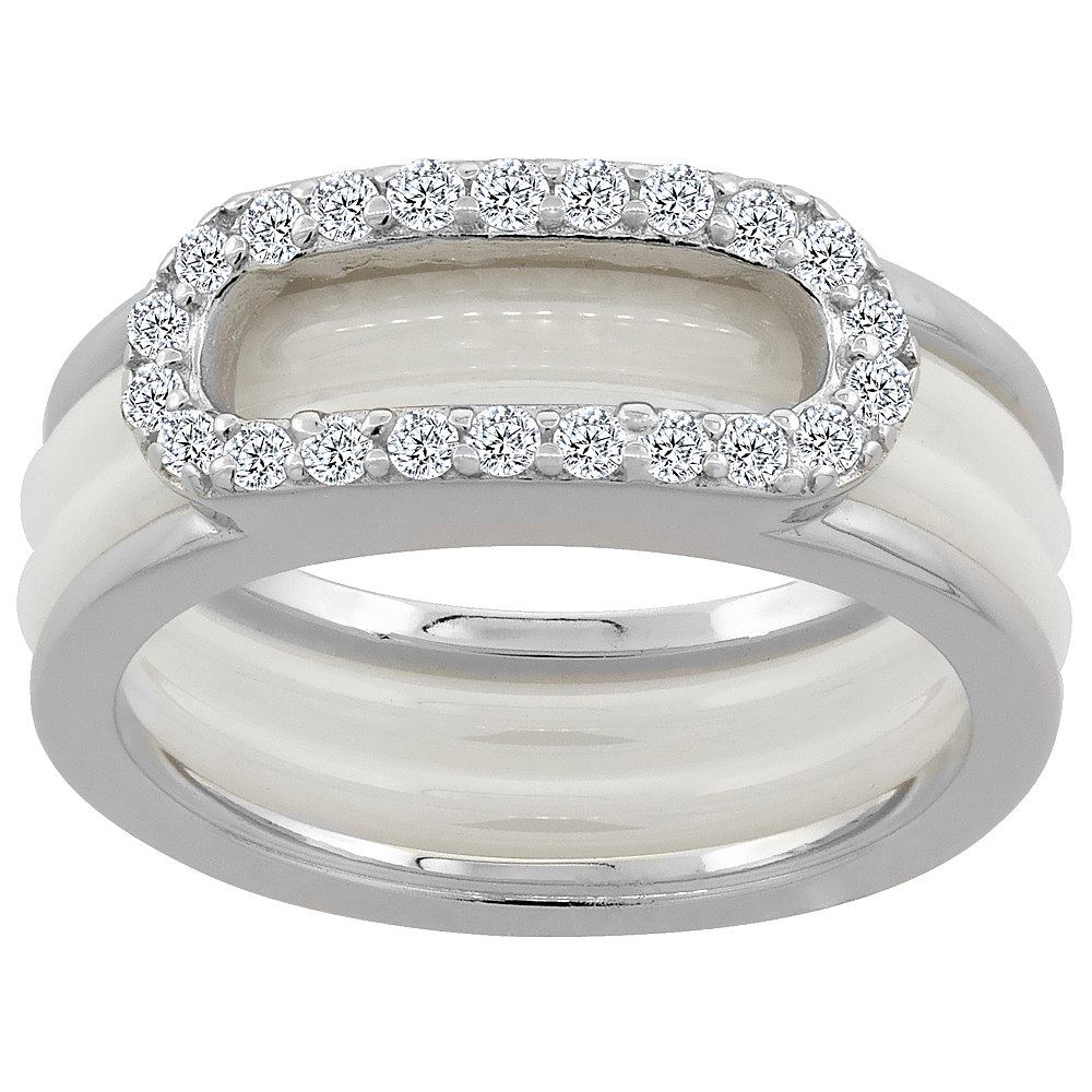 Sterling Silver Cubic Zirconia Oval Ring & White Ceramic, 1/4 inch wide, sizes 6 - 8