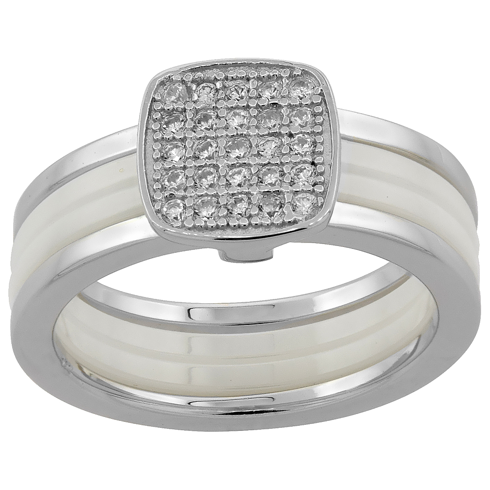 Sterling Silver Cubic Zirconia Sqaure Ring & White Ceramic, 5/16 inch wide, sizes 6 - 8