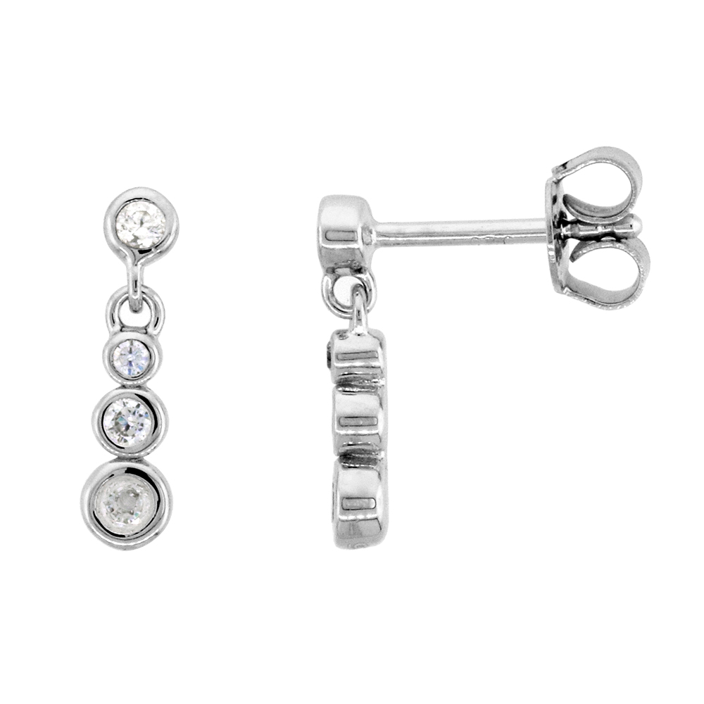 Dainty Sterling Silver CZ Station earrings for Women Bezel Set Rhodium Finish 5/8 inch