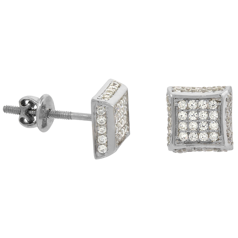 df404aec6 Sterling Silver Micro Pave Cubic Zirconia 2-D Square Screw back Post  Earrings Rhodium Finish