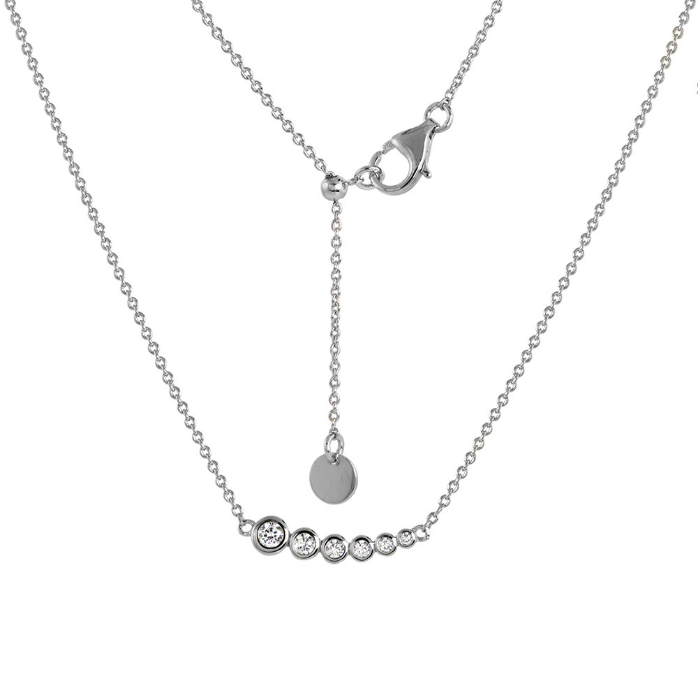 Small Sterling Silver Graduated CZ Journey Necklace Bezel Set Rhodium Finish 16 - 17 inch