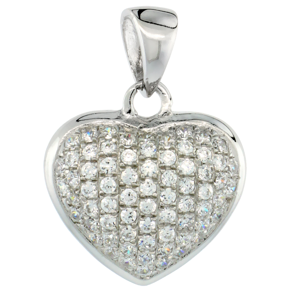 Sterling Silver Micro Pave Cubic Zirconia Heart Pendant White Stones