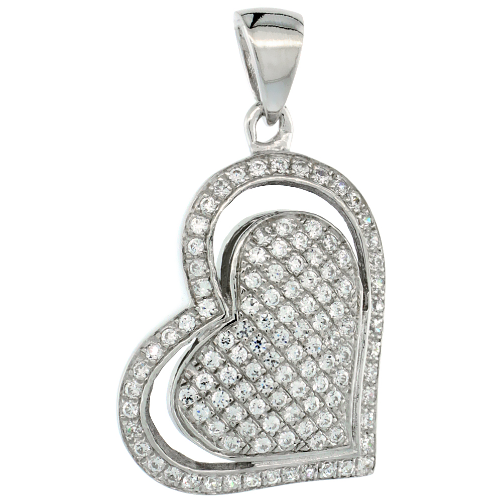 Sterling Silver Micro Pave Cubic Zirconia Double Heart Pendant White Stones