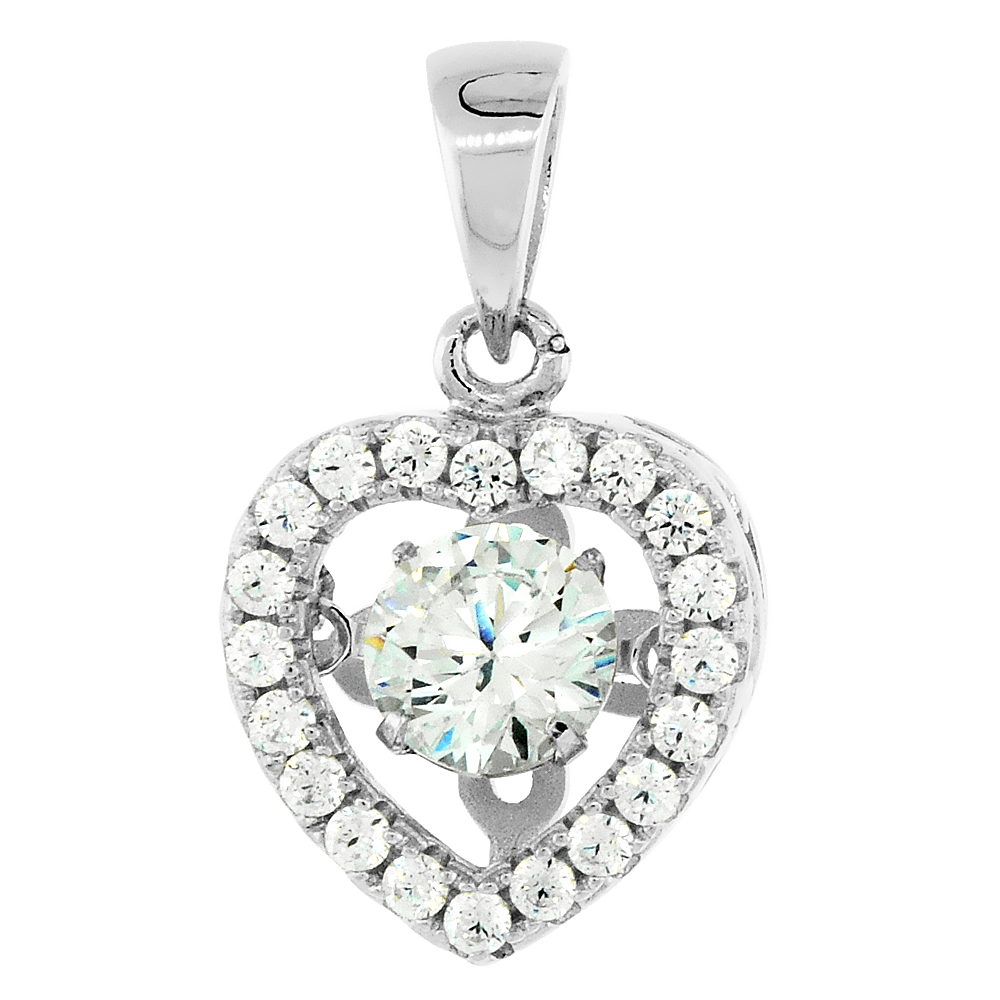 Sterling Silver Dancing CZ Heart Necklace for Women Micro Pave, 7/16 inch long