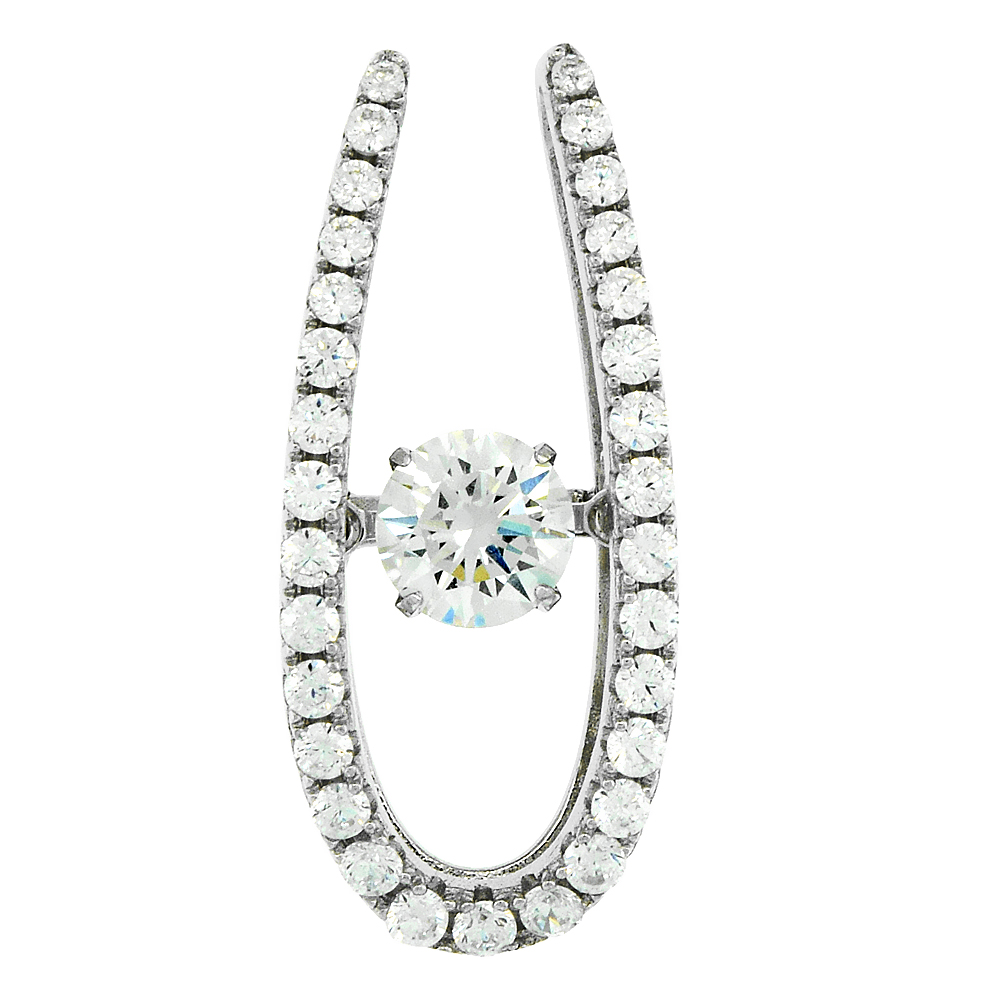 Sterling Silver Dancing CZ Horseshoe Necklace Micro Pave, 15/16 inch long