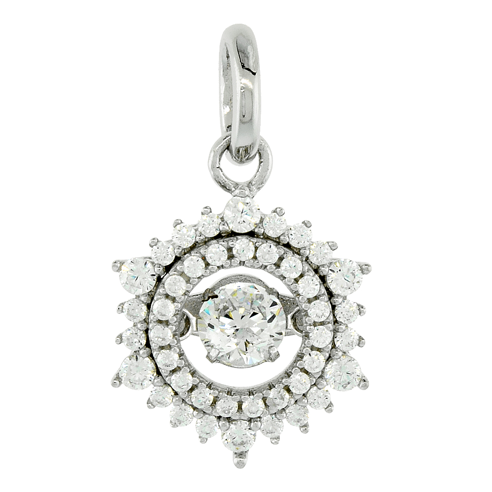 Sterling Silver Dancing CZ Sun Halo Necklace Micro Pave, 1/2 inch wide