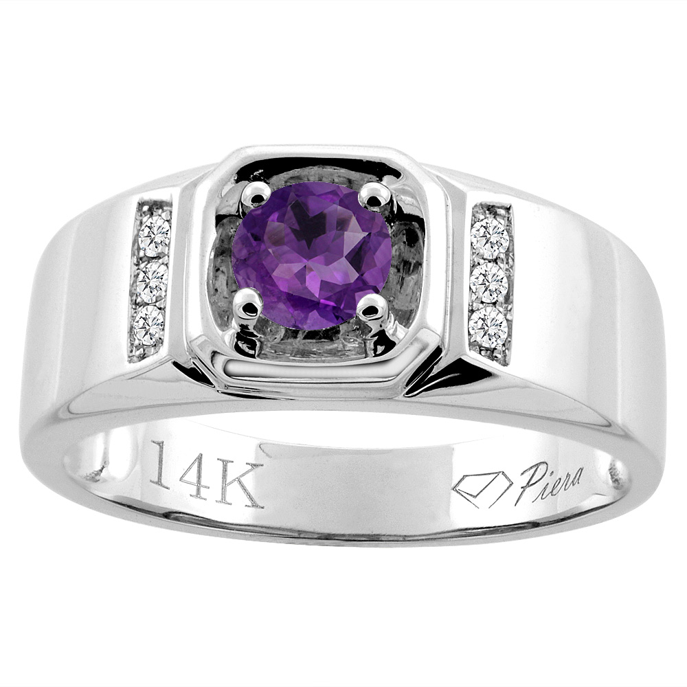 14K White Gold Natural Amethyst Men's Ring Diamond Accented 5/16 inch wide, sizes 9 - 14