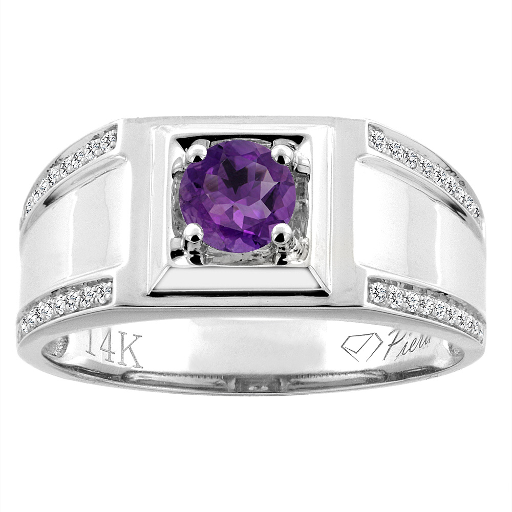 14K White Gold Natural Amethyst Men's Ring Diamond Accented 3/8 inch wide, sizes 9 - 14