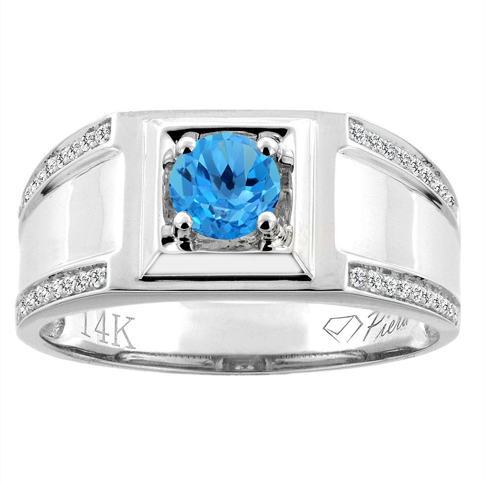14K White Gold Natural Swiss Blue Topaz Men's Ring Diamond Accented 3/8 inch wide, sizes 9 - 14