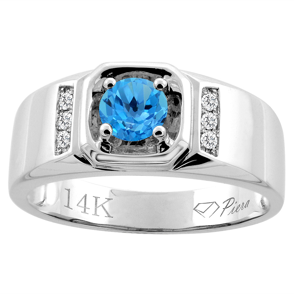 14K White Gold Natural Swiss Blue Topaz Men's Ring Diamond Accented 5/16 inch wide, sizes 9 - 14