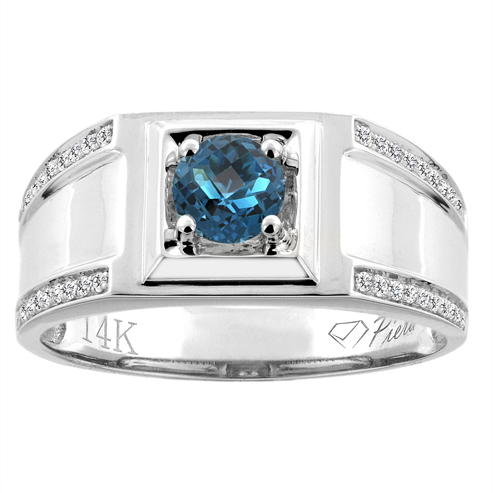 14K White Gold Natural London Blue Topaz Men's Ring Diamond Accented 3/8 inch wide, sizes 9 - 14