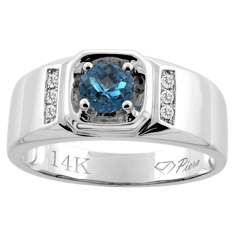 14K White Gold Natural London Blue Topaz Men's Ring Diamond Accented 5/16 inch wide, sizes 9 - 14