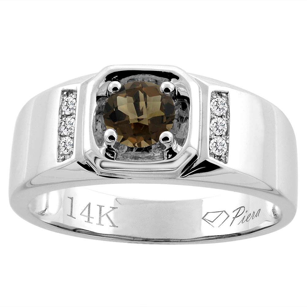 14K White Gold Natural Smoky Topaz Men's Ring Diamond Accented 5/16 inch wide, sizes 9 - 14